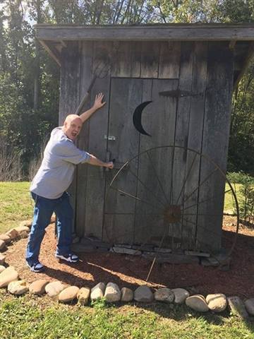 GentlemanDan - Me Pretending Entering Outhouse At Smoke Hole Caverns